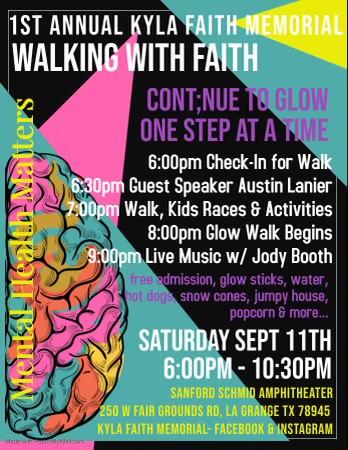 Kyla Faith Memorial Mental Health & Suicide Awareness Glow Walk